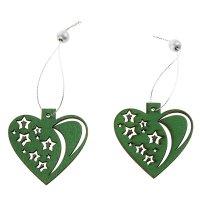 Подвеска новогодняя зеленое сердце со звёздами, серебряная нить, набор 2 ш