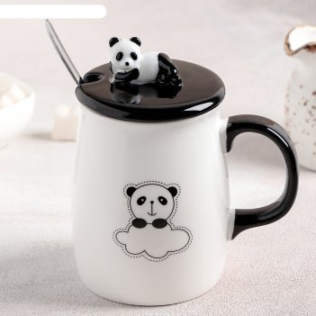 Кружка 450 мл привет панда, с керамической ложкой и крышкой, рисунок микс