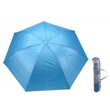 Зонт механический, ветроустойчивый, в футляре, внутри металлик, цвет голуб