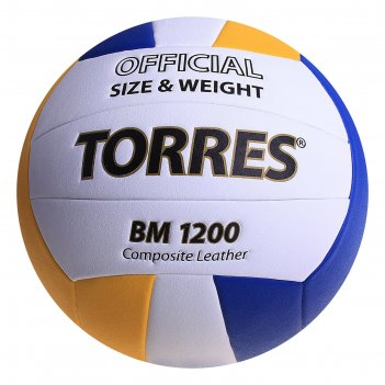 Мяч волейбольный torres bm1200, р.5, бело-сине-желтый
