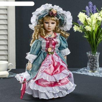 Кукла коллекционная керамика леди элина в платье цвета весенняя зелень 30