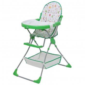 Стульчик для кормления polini kids 252 «лесные друзья», цвет зелёный