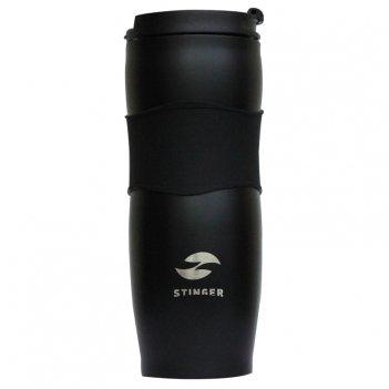 Термокружка stinger, 0,4 л, сталь/пластик/силикон, черная, 7,2х19,4 см