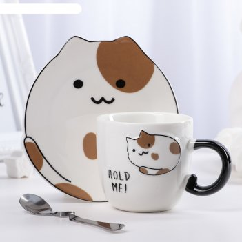 Чайная пара котики: чашка 200 мл, блюдце 14х13,5х1 см, рисунок микс