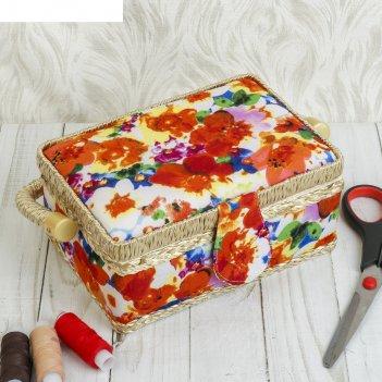 Шкатулка для рукоделия акварельные цветы 9,5х19,5х13 см