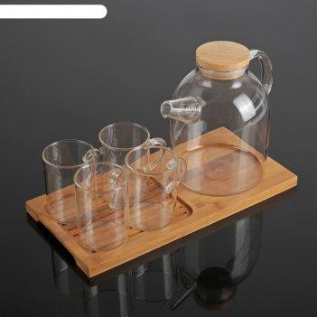 Чайный набор эко, 5 предметов: чайник 800 мл, 4 кружки 100 мл