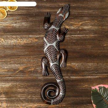 Панно чёрный геккон, 50 см
