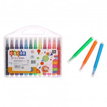 Фломастеры 24 цвета в пластиковом пенале, с кистеобразным наконечником, ко