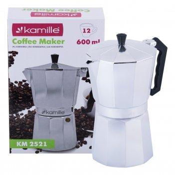 Кофеварка гейзерная kamille км-2521 (600 мл. 12 порций) из алюминия