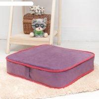 Подушка на стул квадратная 43х43 см, высота 10см, сиреневый/красный, велюр