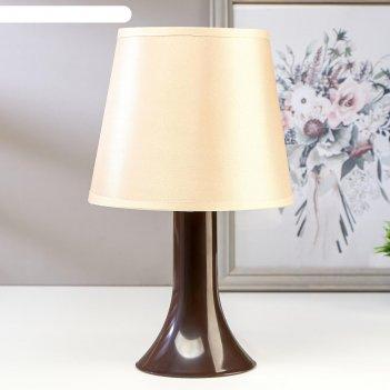 Лампа настольная 72204 1хе14 15вт коричневый/белый d=16,5 см, h=27,5 см
