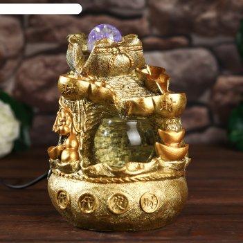 Фонтан настольный от сети, подсветка мешок с золотыми слитками золото 21х1