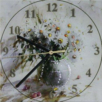 Картина сваровски - часы букет ромашек