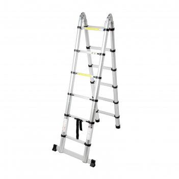 Лестница алюминиевая телескопическая шарнирная tundra premium 1,9 х 1,9 ме