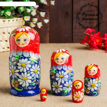 Матрёшка ромашка, красно - синяя, 5 кукольная