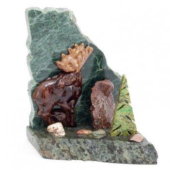 Сувенир лось камень змеевик