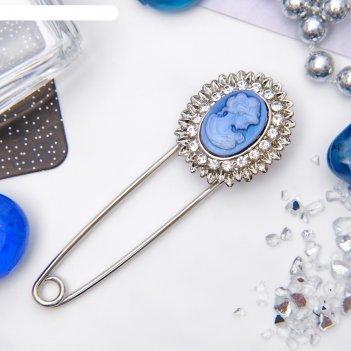 Булавка камея рамка двойная, 7см, цвет бело-синий в серебре