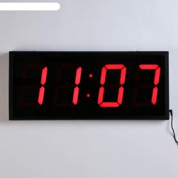 Часы настенные электронные, прямоугольные, с пультом ду, цифры красные