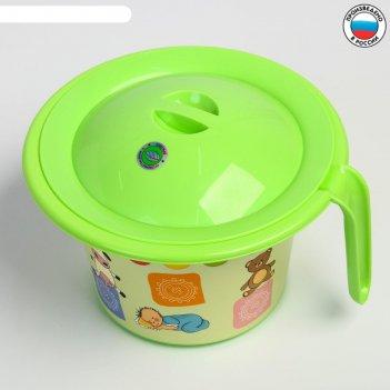 Горшок детский кроха с крышкой и декором, цвет салатовый
