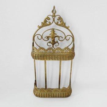 Кашпо настенное 2-х ярусное для цветов  декоративное,  золотая патина