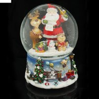 Сувенир снежный шар дед мороз с оленем музык., реагирует на хлопок