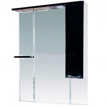 Шкаф-зеркало misty кристи 90, правый, с подсветкой, черный