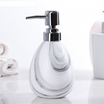 Дозатор для жидкого мыла кантри, цвет белый с серыми разводами