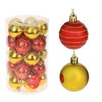 Новогодние шары полосатики (набор 25 шт.), красные и золотые