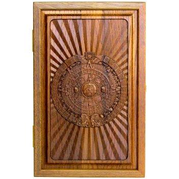 Резные дорожные нарды из массива мореного дуба календарь майя 36х46