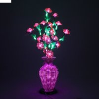 Светодиодная ваза 60х12, 2 цвета, 44 led, цветы розовые