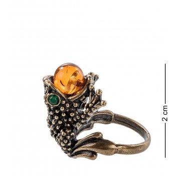Am-099 кольцо лягушка (латунь, янтарь)