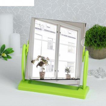 Зеркало настольное на подставке прямоугольник, цвет зелёный