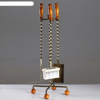 Каминный набор кованый балау 3 предмета: кочерга, щётка, совок