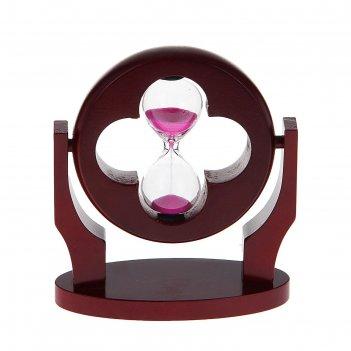 Часы песочные 1 минута рамка клевер на подставке вишня 10*12см
