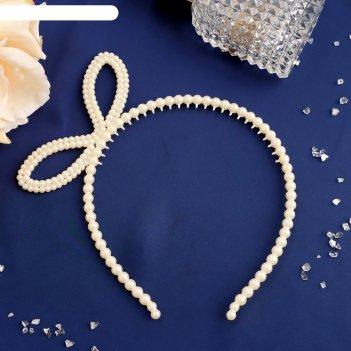 Ободок для волос жемчужиная бусинка 0,5 см боковой бантик