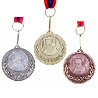 Медаль тематическая 035 баскетбол диам 4 см. цвет зол