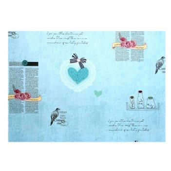 Бумага для творчества газетные вырезки с сердцами а4 плотность 80 гр