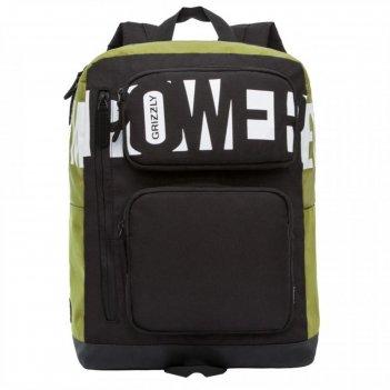 Рюкзак молодежный эргоном.спинка grizzly rq-009-2 41*30*21 чёрный/оливковы