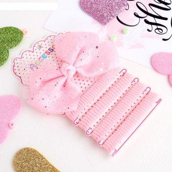 Набор для волос малютка (4 резинки, 1 зажим) блеск розовый