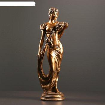 Фигура девушка с букетом бронза 20х16х55см