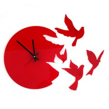 Часы настенные летящие птицы красные cl191кр 37х40см