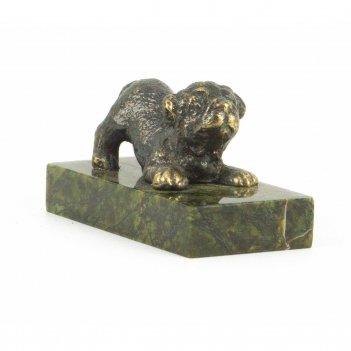 Статуэтка собачка малая №4 бронза змеевик 50х25х30 мм 70 гр.