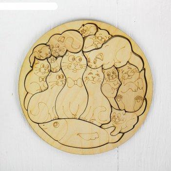 Пазл-раскраска коты, d= 20 см, фанера — 3 мм