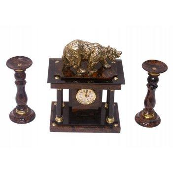 Часы, два подсвечника (обсидиан) 350х160х350 арт. ч-008