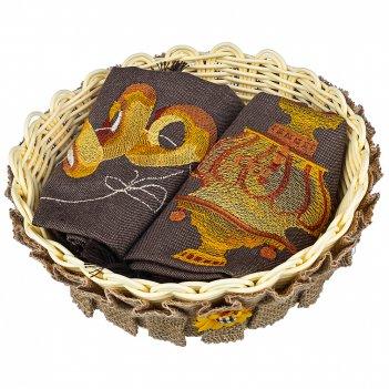 Набор из корзины и 2-х салфеток 40х40см посиделки,коричневый, вышивка, 100