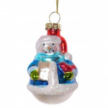 Новогоднее украшение снеговик, 6,5х3,5х3,5см (без инд.упаковки)