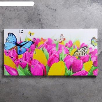 Часы настенные, серия: цветы, на холсте бабочки и тюльпаны, 40х76  см, мик