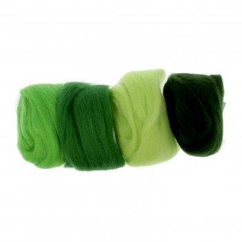 Набор шерсти для валяния ассорти 4х10 г (салат, св. салат, киви, водоросли