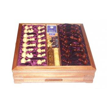 Большой игровой набор из красного дерева: шахматы, шашки, нарды, домино, к