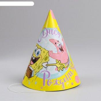 Колпак бумажный «губка боб. с днём рождения!», набор 6 шт.